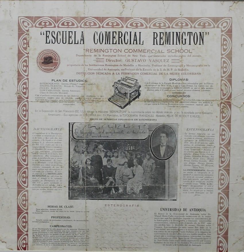 La Escuela Remington crea la unidad Femenina con la dirección de Luisa Vásquez B., hermana del fundador.