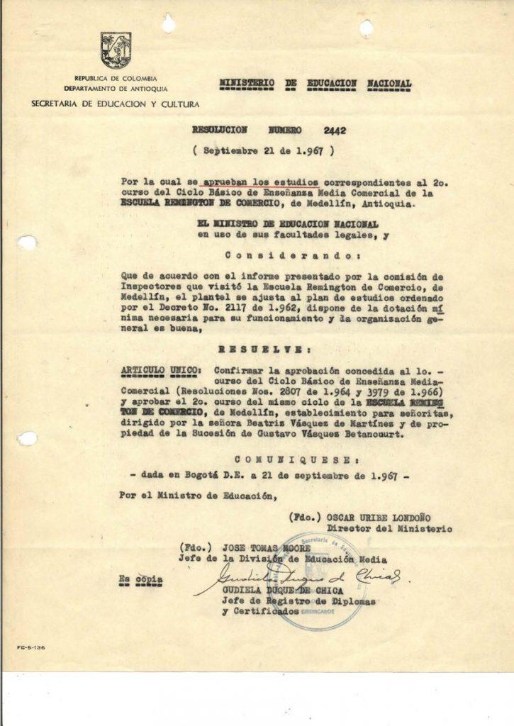 *El 20 de febrero de este año, fallece Gustavo Vásquez Betancourt, fundador de la Escuela Remington de Comercio.