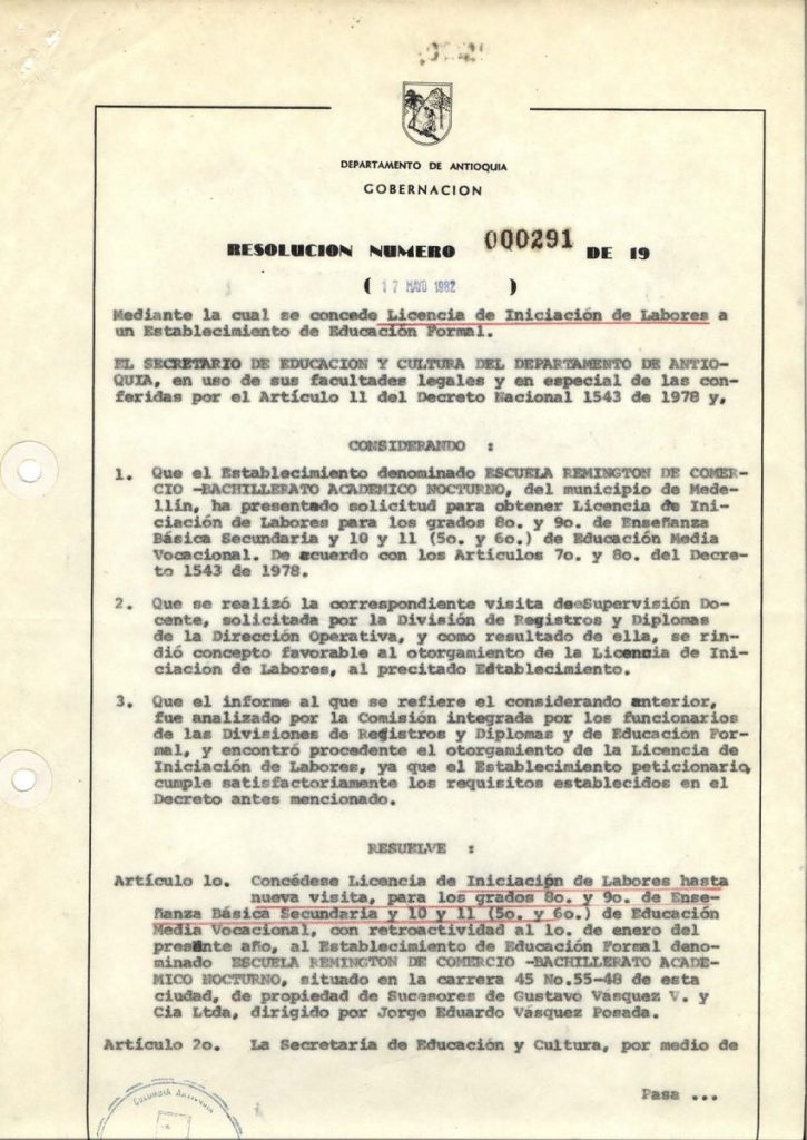 El Ministerio de Educación Nacional avala los programas del bachillerato comercial y académico ofertados por la Escuela (resoluciones 25838 de 1982 (Comercial) y 13026 de 1982 (Académico).