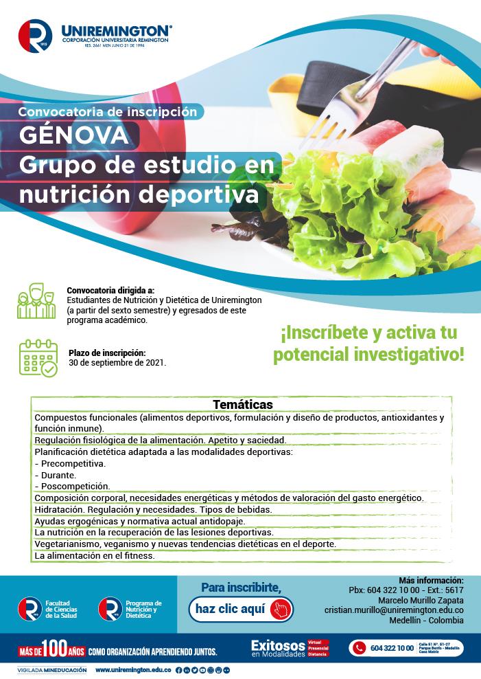Convocatoria - Genova Grupo de estudio en nutrición deportiva